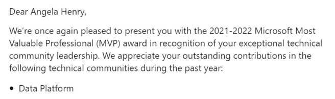 MVP Award 2021